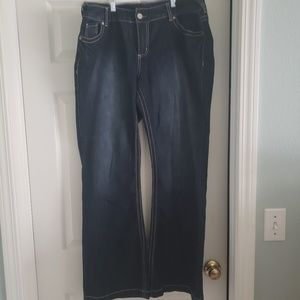 Mid-rise, wide leg, dark blue jeans